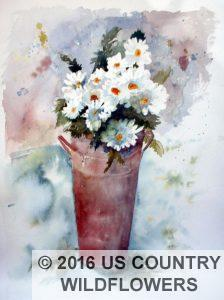 Brass Bucket Of Daisies